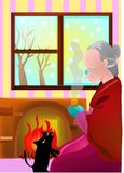 Grandmother and cat Stock Images