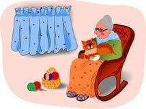 Grandmother&cat Royalty Free Stock Image