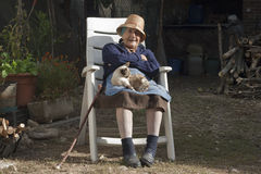 Grandmother and cat Stock Photography