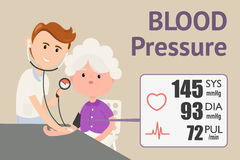 Grandmother checking blood pressure. With digital blood pressure meter. Doctor measuring blood pressure of patient. Vector flat design illustration Royalty Free Stock Photos