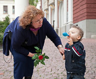 Grandmother child care Royalty Free Stock Images