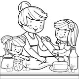 Grandmother and children cooking in the kitchen. Coloring book page. Grandmother cooking in the kitchen and her grandchildren helping her. Vector black and white Stock Images