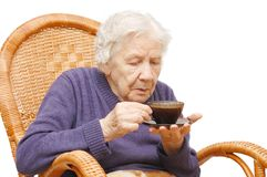 Grandmother from coffee Royalty Free Stock Photos