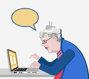Grandmother with the computer sits. Vector illustration in a flat style. Old progressive woman use modern technology. White backgr. Old woman use a laptop Stock Illustration