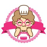 Grandmother is cooking.Cute style stock illustration