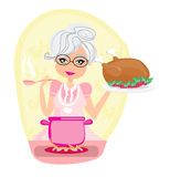Grandmother cooking soup and serving chicken Royalty Free Stock Photos