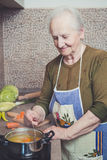 Grandmother cooking on a stove. In her kitchen Royalty Free Stock Images