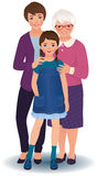 Grandmother with daughter and granddaughter royalty free illustration