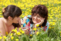 Grandmother with daughter in outdoor. Royalty Free Stock Photos