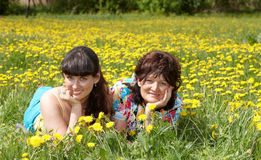 Grandmother with daughter in outdoor. Stock Photo