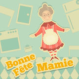 Grandmother day France. Greeting Card with Grandma in Cartoon Design. Fête des Grands-méres. Vector Illustration Royalty Free Stock Images