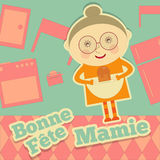 Grandmother day France. Greeting Card with Grandma on Kitchen in Cartoon Style. Fête des Grands-méres. Vector Illustration Stock Image