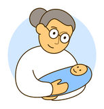 Grandmother or doctor with her little grandson. Newborn child boy Stock Image