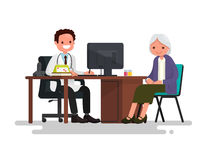 Grandmother at the doctor. Vector illustration. Of a flat design Royalty Free Stock Photo