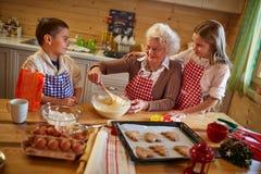 Grandmother enjoying with grandchildren preparing Christmas cook royalty free stock images