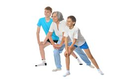 Grandmother exercising with two boys Royalty Free Stock Photography