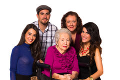 Grandmother and family. Family with their handicapped grandmother on a white background Stock Photos