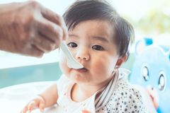 Grandmother feeding cute asian baby girl with a spoon Royalty Free Stock Photography