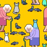Grandmother feeds pigeons pattern. Grandma and cat background. G. Ood Old lady and dove texture. Vector illustration Stock Photos