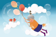 Grandmother flying in sky Royalty Free Stock Photography