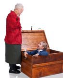 Grandmother found her granddaughter in the chest Royalty Free Stock Photos