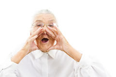 Funny grandma. Grandmother with funny expressions on an isolated background Stock Images