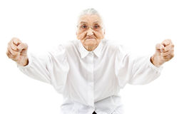 Funny grandma as a supporter Stock Photo