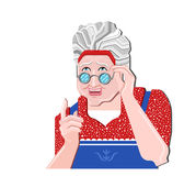 Grandmother gesture. Granny old woman gesture. Retro vector illustration. Pretty old woman in glasses gives an advice.Blue apron a. Old woman gives an advice Royalty Free Illustration