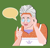 Grandmother gesture.Granny old woman gesture. Retro vector illustration. Pretty old woman in glasses gives an advice.Green backgro. Old woman gives an advice Vector Illustration