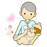 Grandmother give a baby milk a bottle. Marriage and Parenting Ch Royalty Free Stock Photos