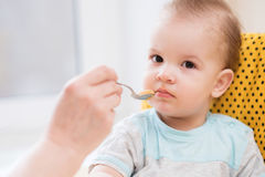 Grandmother gives baby food from a spoon Royalty Free Stock Photos