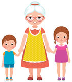 Grandmother with glasses and an apron holding the hands  Stock Image
