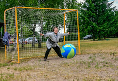 Grandmother goalkeeper Royalty Free Stock Photography