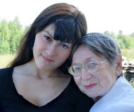 Grandmother and the grand daughter Stock Photography