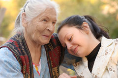 The grandmother with the grand daughter Royalty Free Stock Photography