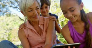 Grandmother and grand kids using mobile phone in the park 4k stock video footage