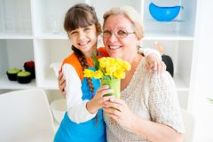 Grandmother and grandaughter Stock Photos
