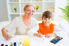 Grandmother and grandaughter Royalty Free Stock Photo