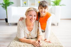 Grandmother and grandaughter. Are spending time together Stock Photography