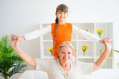 Grandmother and grandaughter. Are spending time together Royalty Free Stock Image