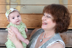 Grandmother and Grandaughter Stock Images
