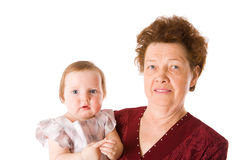 Grandmother and grandchild Stock Images