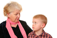 Grandmother with grandchild. On a white background Stock Photo