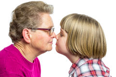 Grandmother and grandchild noses touching Royalty Free Stock Photography