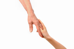 Grandmother and grandchild tenderly holding hands Royalty Free Stock Photos