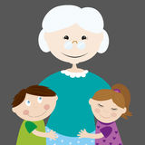 Grandmother with grandchildren. Illustration of an happy grandmother holding her young granchildren Stock Photos