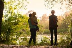 Grandmother with grandchildren in nature. Grandmother with grandchildren walks in nature stock image