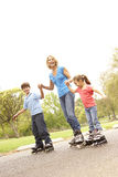Grandmother And Grandchildren Skating In Park. Holding Hands stock photos