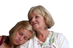 Grandmother and Granddaughter. Sharing a sweet moment Royalty Free Stock Photos