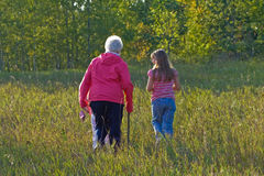 Grandmother and granddaughter. Stock Photos